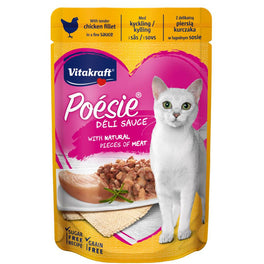 'FREE WITH MIN $100': Vitakraft Poesie Deli Sauce Chicken Fillet Grain Free Adult Pouch Cat Food 85g