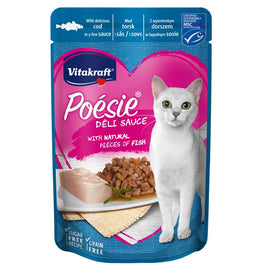 Vitakraft Poesie Deli Sauce Cod Grain Free Adult Pouch Cat Food 85g