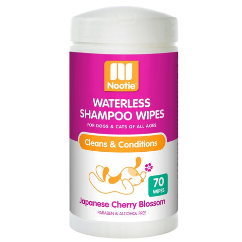 Nootie Waterless Shampoo Cat & Dog Wipes (Japanese Cherry Blossom) 70ct
