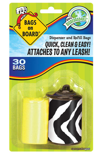 Bags on Board Zebra Print Dispenser With 30 Refill Bags