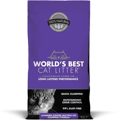World's Best Cat Litter Lavender Scented Multiple Cat Clumping Corn Kernel Cat Litter