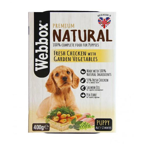 Webbox Premium Natural Fresh Chicken with Garden Vegetables Puppy Tray Wet Dog Food 400g - Kohepets