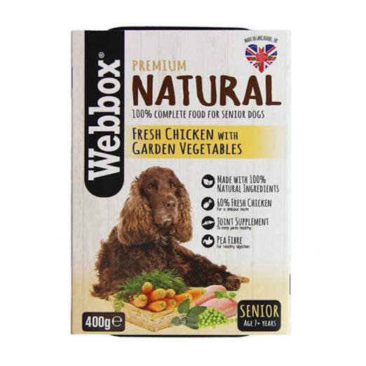 Webbox Premium Natural Fresh Chicken with Garden Vegetables Senior Wet Dog Tray Food 400g - Kohepets