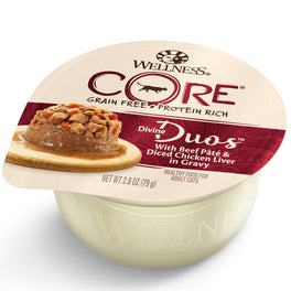 BUY 3 GET 1 FREE: Wellness CORE Divine Duos Beef Pate & Diced Chicken Liver In Gravy Wet Cat Food 2.8oz
