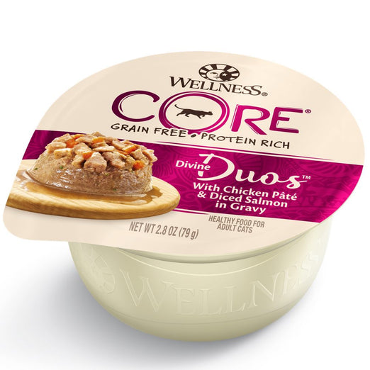 BUY 3 GET 1 FREE: Wellness CORE Divine Duos Chicken Pate & Diced Salmon In Gravy Wet Cat Food 2.8oz
