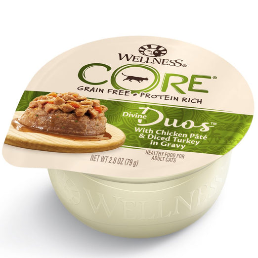 BUY 3 GET 1 FREE: Wellness CORE Divine Duos Chicken Pate & Diced Turkey In Gravy Wet Cat Food 2.8oz - Kohepets