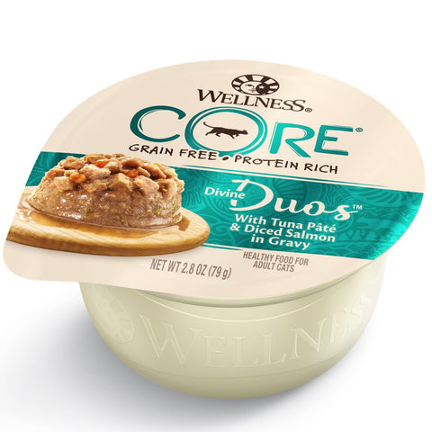 BUY 3 GET 1 FREE: Wellness CORE Divine Duos Tuna Pate & Diced Salmon In Gravy Wet Cat Food 2.8oz
