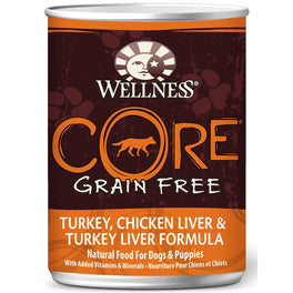 Wellness CORE Grain-Free Turkey, Chicken Liver & Turkey Liver Canned Dog Food 354g