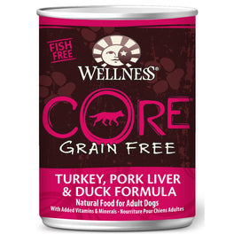 Wellness CORE Grain-Free Turkey, Pork Liver & Duck Canned Dog Food 354g