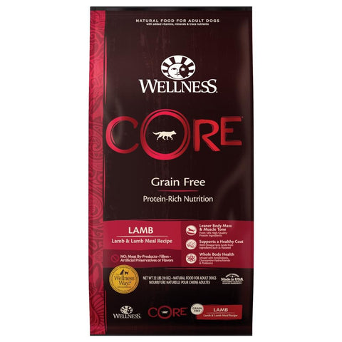 'FREE Whimzees w 22lb': Wellness CORE Grain-Free Lamb & Lamb Meal Recipe Dry Dog Food - Kohepets