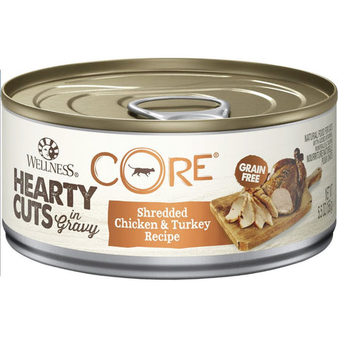 Wellness CORE Hearty Cuts Shredded Chicken & Turkey Canned Cat Food 156g - Kohepets