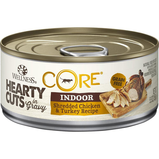 Wellness CORE Hearty Cuts Indoor Shredded Chicken & Turkey Canned Cat Food 156g - Kohepets