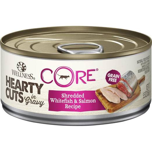 Wellness CORE Hearty Cuts Shredded Whitefish & Salmon Canned Cat Food 156g - Kohepets