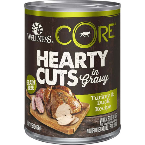 20% OFF: Wellness CORE Grain-Free Hearty Cuts In Gravy Turkey & Duck Canned Dog Food 354g - Kohepets
