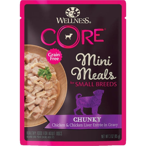 BUY 3 GET 1 FREE: Wellness CORE Mini Meals Chunky Chicken & Chicken Liver Entrée In Gravy Pouch Dog Food 3oz