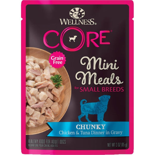 BUY 3 GET 1 FREE: Wellness CORE Mini Meals Chunky Chicken & Tuna Dinner In Gravy Pouch Dog Food 3oz - Kohepets