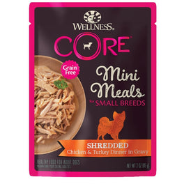 BUY 3 GET 1 FREE: Wellness CORE Mini Meals Shredded Chicken & Turkey Dinner In Gravy Pouch Dog Food 3oz