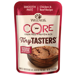 BUY 4 GET 1 FREE: Wellness CORE Tiny Tasters Chicken & Beef Grain-Free Pouch Cat Food 1.75oz