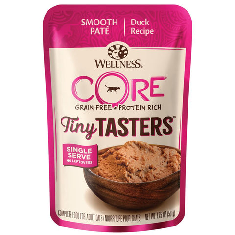 BUY 3 GET 1 FREE: Wellness CORE Tiny Tasters Duck Grain-Free Pouch Cat Food 1.75oz
