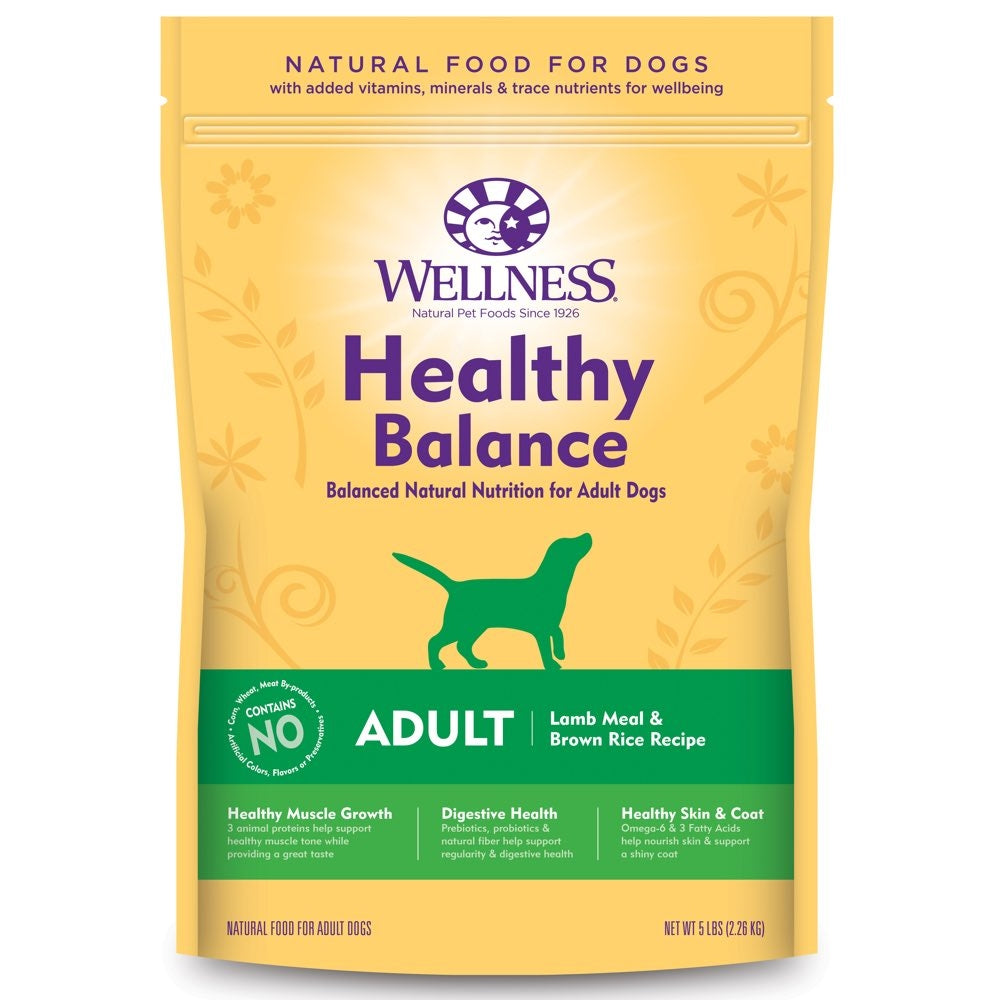 Wellness Healthy Balance Lamb Meal Brown Rice Recipe Adult Dry Dog