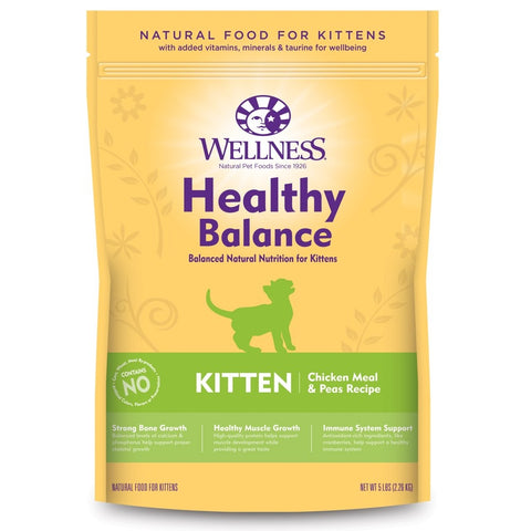 20% OFF + FREE TREATS: Wellness Healthy Balance Chicken Meal & Peas Recipe Kitten Dry Cat Food