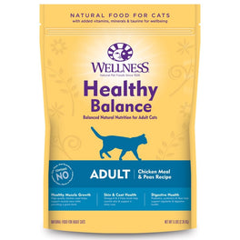 20% OFF + FREE TREATS: Wellness Healthy Balance Chicken Meal & Peas Recipe Adult Dry Cat Food