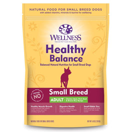 'FREE TREATS' + 28% OFF: Wellness Healthy Balance Chicken Meal, Pork Meal for Adult Small Breed Dry Dog Food