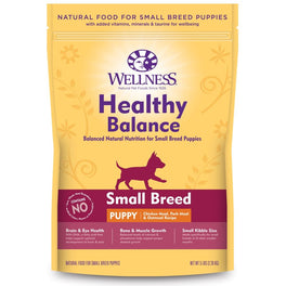 'FREE TREATS' + 28% OFF: Wellness Healthy Balance Chicken Meal, Pork Meal & Oatmeal Recipe Small Breed Puppy Dry Dog Food
