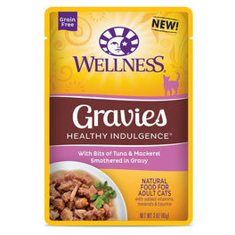 BUY 3 GET 1 FREE: Wellness Healthy Indulgence Gravies Tuna & Mackerel In Gravy Pouch Cat Food 3oz