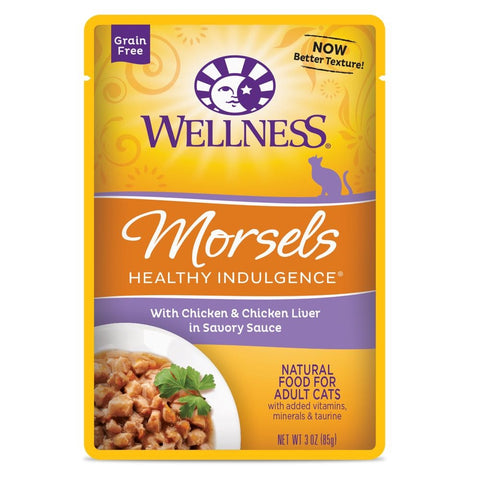 BUY 3 GET 1 FREE: Wellness Healthy Indulgence Morsels Chicken & Chicken Liver In Sauce Pouch Cat Food 3oz