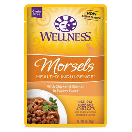 BUY 3 GET 1 FREE: Wellness Healthy Indulgence Morsels Chicken & Salmon In Sauce Pouch Cat Food 3oz