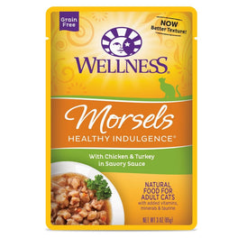 BUY 3 GET 1 FREE: Wellness Healthy Indulgence Morsels Chicken & Turkey In Sauce Pouch Cat Food 3oz
