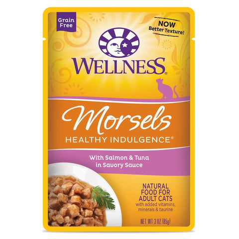 BUY 3 GET 1 FREE: Wellness Healthy Indulgence Morsels Salmon & Tuna In Sauce Pouch Cat Food 3oz