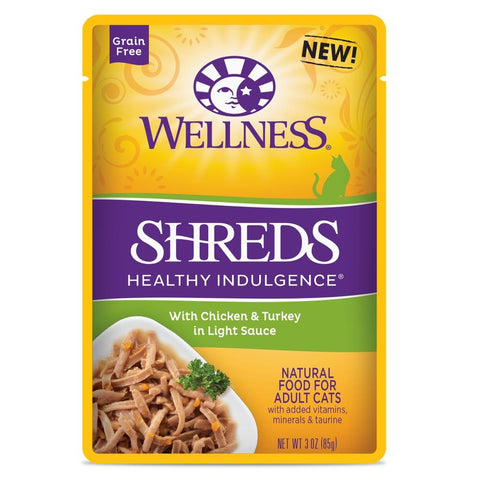 10% OFF: Wellness Healthy Indulgence Shreds Chicken & Turkey In Light Sauce Pouch Cat Food 3oz - Kohepets