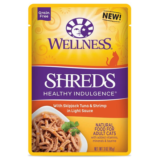 BUY 3 GET 1 FREE: Wellness Healthy Indulgence Shreds Skipjack Tuna & Shrimp In Light Sauce Pouch Cat Food 3oz