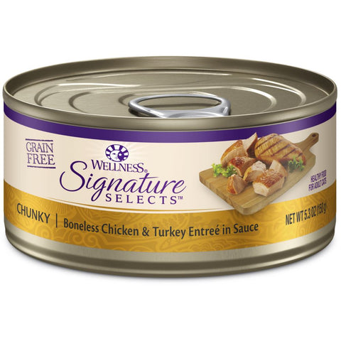 BUY 3 GET 1 FREE: Wellness CORE Signature Selects Chunky Chicken & Turkey Canned Cat Food 5.3oz