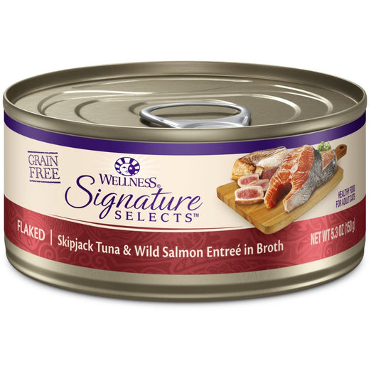 BUY 3 GET 1 FREE: Wellness CORE Signature Selects Flaked Skipjack Tuna & Salmon Canned Cat Food 5.3oz - Kohepets
