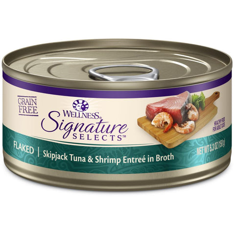BUY 3 GET 1 FREE: Wellness CORE Signature Selects Flaked Skipjack Tuna & Shrimp Canned Cat Food 5.3oz