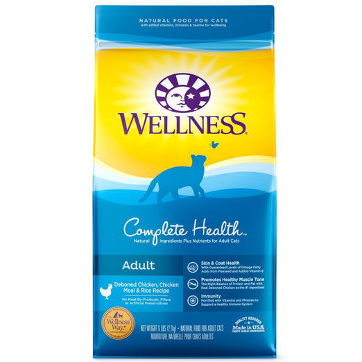 Wellness Complete Health Adult Deboned Chicken, Chicken Meal & Rice Dry Cat Food 6lb - Kohepets