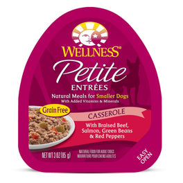 BUY 3 GET 1 FREE: Wellness Petite Entrees Casserole Braised Beef, Salmon, Green Beans & Red Peppers Cup Tray Dog Food 85g