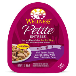 BUY 3 GET 1 FREE: Wellness Petite Entrees Mini-Filets Tender Turkey, Green Beans & White Sweet Potatoes in Gravy Cup Tray Dog Food 85g