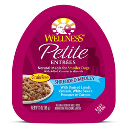 BUY 3 GET 1 FREE: Wellness Petite Entrees Shredded Medley Braised Lamb, Venison, White Sweet Potatoes & Carrots Cup Tray Dog Food 85g