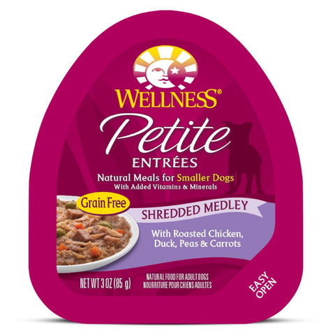 BUY 3 GET 1 FREE: Wellness Petite Entrees Shredded Medley Roasted Chicken, Duck, Peas & Carrots Cup Tray Dog Food 85g
