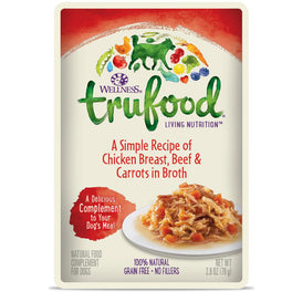 BUY 3 GET 1 FREE: Wellness TruFood Meal Complements Chicken Breast, Beef & Carrots Pouch Dog Food 2.8oz