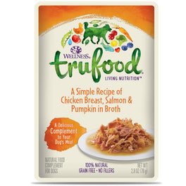 BUY 3 GET 1 FREE: Wellness TruFood Meal Complements Chicken Breast, Salmon & Pumpkin Pouch Dog Food 2.8oz
