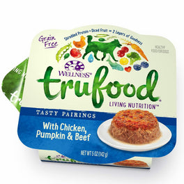 30% OFF: Wellness TruFood Tasty Pairings Chicken, Pumpkin & Beef Cup Tray Dog Food 5oz (Exp 9 Dec 19)