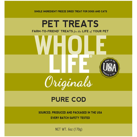Whole Life Originals Freeze Dried Cod Cat & Dog Treats 6oz - Kohepets
