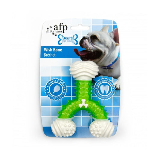 All For Paws Chicken Flavour Dental Wish Bone Dog Toy