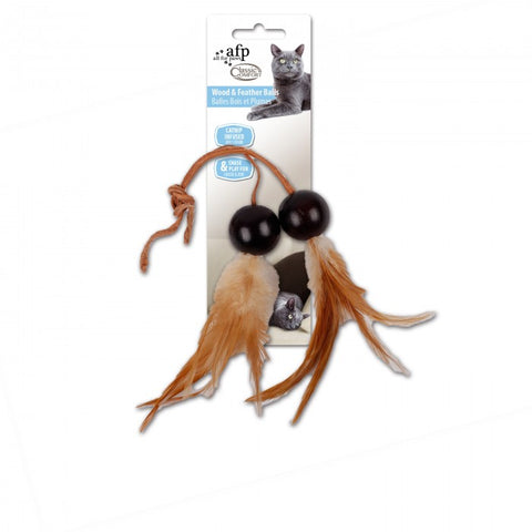 All For Paws Comfort Wood And Feather Balls Cat Toy