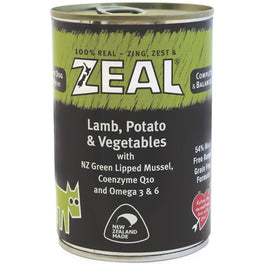 20% OFF: Zeal Lamb, Potato & Vegetables Canned Dog Food 390g (Exp Sep 19)